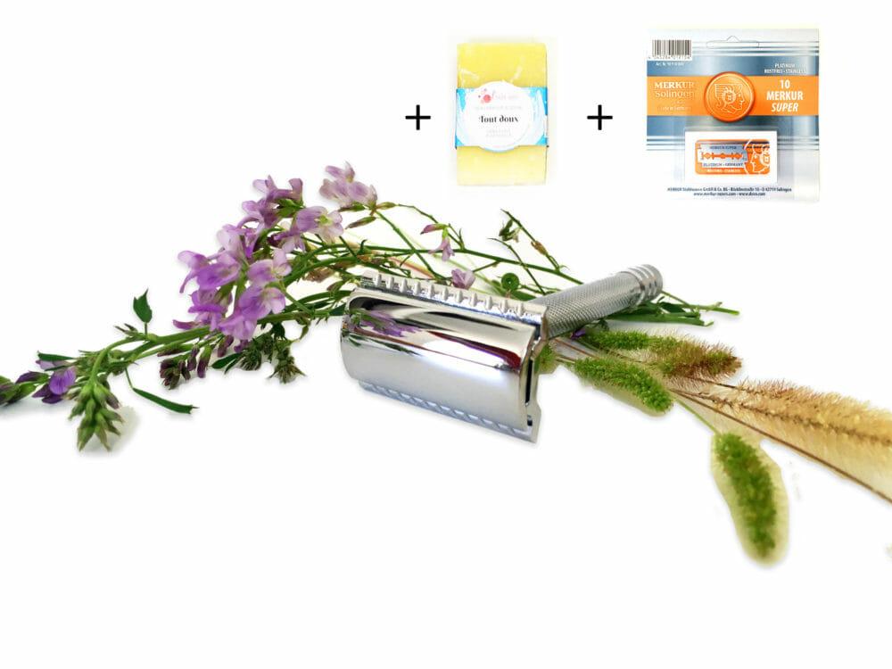 Kit de rasage zéro déchet, savon lames et rasoir