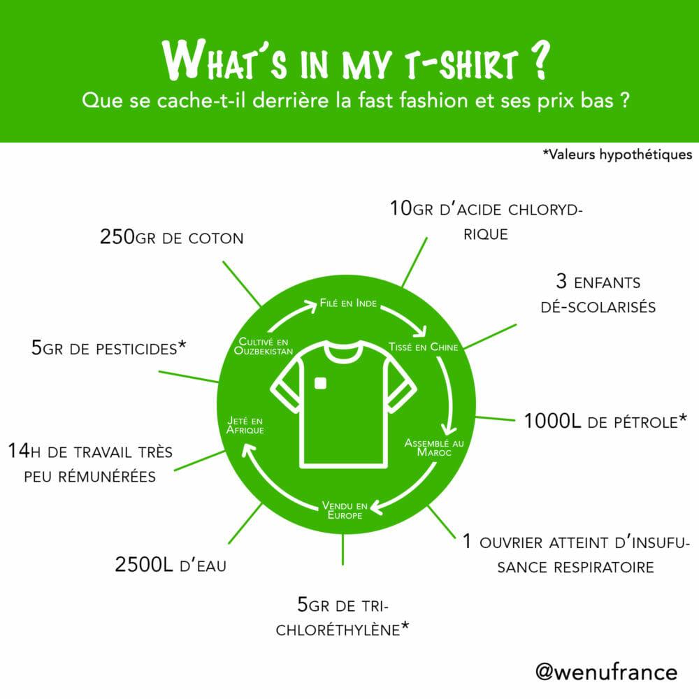 fast fashion : mise en avant du tour du monde effectué par un t-shirt en coton et listing des composants d'un t-shirtpas cher