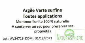 Certificat argile verte Naturasphere