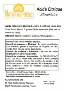 Certificat acide citrique Naturasphere
